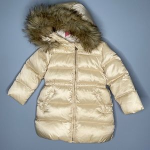 Baby Gap girls cream down filled puffer jacket with removable faux fur hood 3